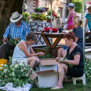 Grupa osób siedzi w ogrodzie i wyrywa płatki ze ściętych kwiatów, a następnie wrzuca je do kartonów